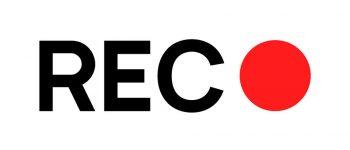 Recording sign icon. Red logo camera video recording symbol, rec icon.